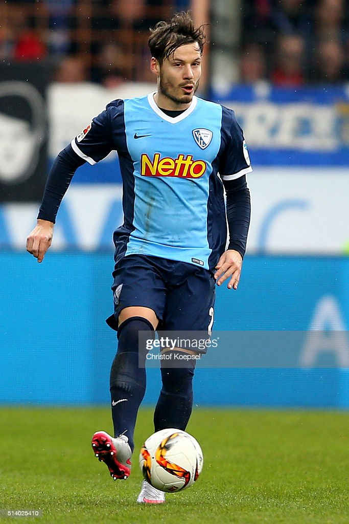 Stefano Celozzi of Bochum runs with the ball during the 2 Bundesliga match between VfL Bochum and Arminia Bielefeld at Rewirpower Stadium on March 6...