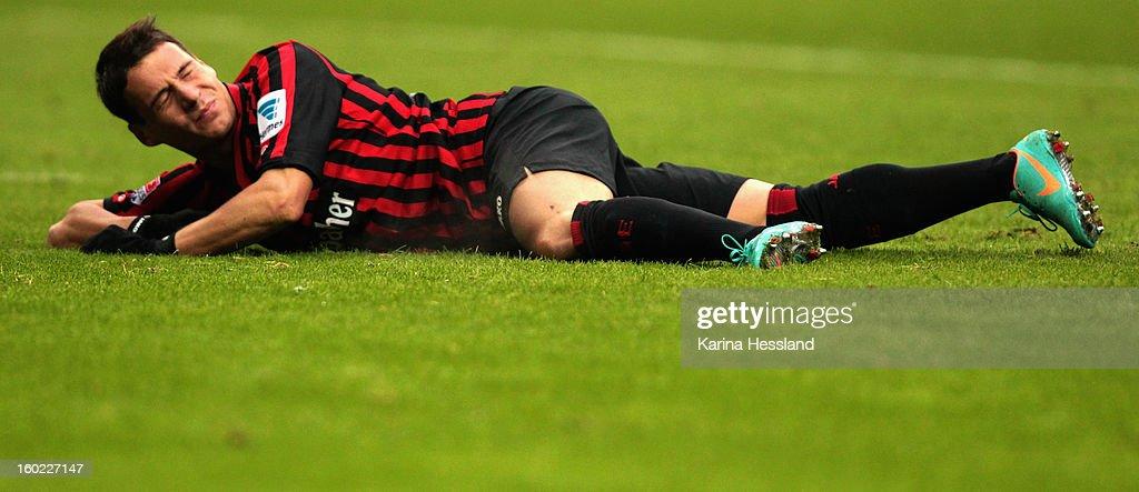 Stefano Celozzi of Frankfurt lays on the ground during the Bundesliga match between Eintracht Frankfurt and 1899 Hoffenheim at CommerzbankArena on...