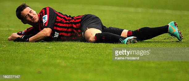Stefano Celozzi of Frankfurt lays on the ground during the Bundesliga match between Eintracht Frankfurt and 1899 Hoffenheim at CommerzbankArena on...