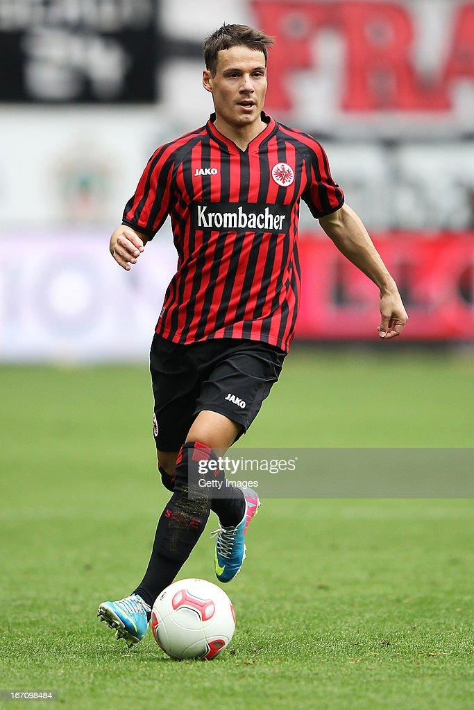 Stefano Celozzi of Frankfurt runs with the ball during the Bundesliga match between Eintracht Frankfurt and FC Schalke 04 at CommerzbankArena on...