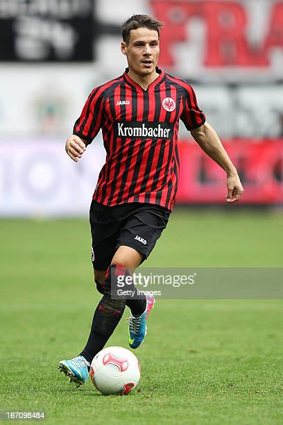 Stefano Celozzi of Frankfurt runs with the ball during the Bundesliga match between Eintracht Frankfurt and FC Schalke 04 at CommerzbankArena on...