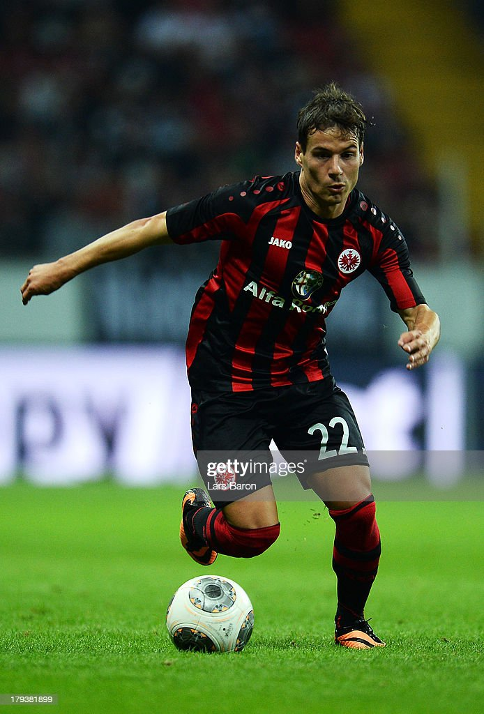 Stefano Celozzi of Frankfurt runs with the ball during the UEFA Europa League playoff second leg between Eintracht Frankfurt and Qarabag FK at...