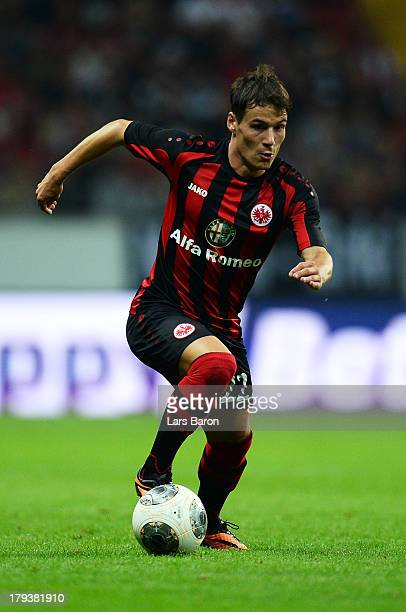 Stefano Celozzi of Frankfurt runs with the ball during the UEFA Europa League playoff second leg between Eintracht Frankfurt and Qarabag FK at...