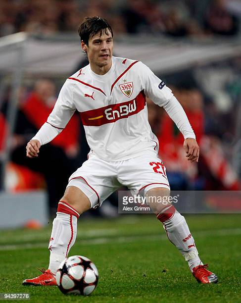 Stefano Celozzi of Stuttgart runs with the ball during the UEFA Champions League Group G match between VfB Stuttgart and Unirea Urziceni at the...