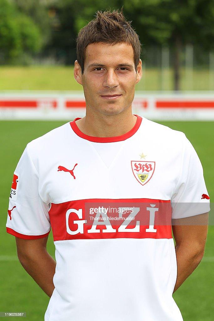 Stefano Celozzi poses during the VfB Stuttgart team presentation at Stuttgart's training ground on July 14 2011 in Stuttgart Germany