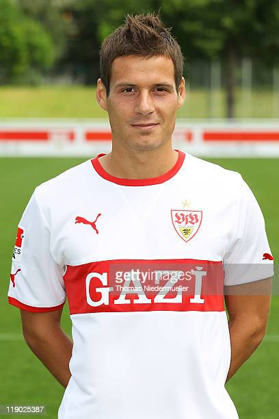 Stefano Celozzi poses during the VfB Stuttgart team presentation at Stuttgart's training ground on July 14 2011 in Stuttgart Germany
