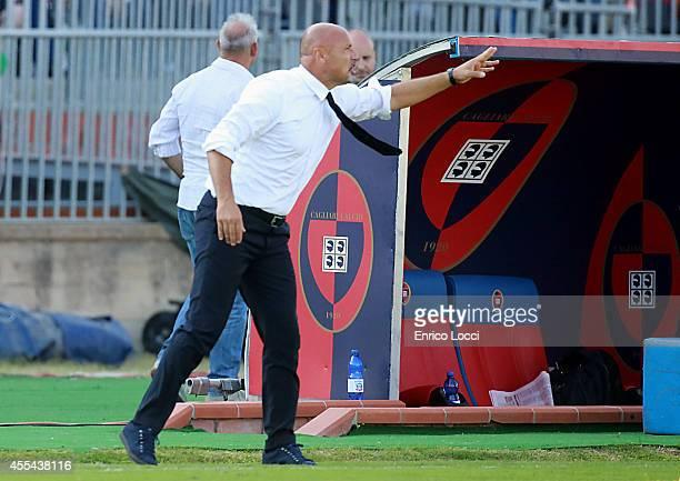 Stefano Colantuono coach of Atalanta reacts during the Serie A match between Cagliari Calcio and Atalanta BC at Stadio Sant'Elia on September 14 2014...