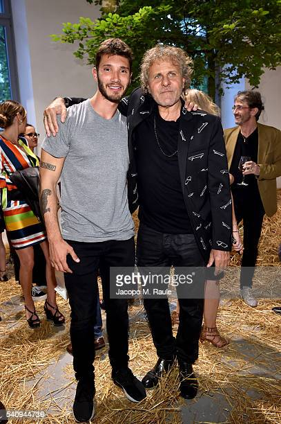 Stefano De Martino and Renzo Rosso attend Renzo Rosso And OTB Launch 'Radical Renaissance 555' Book on June 17 2016 in Milan Italy