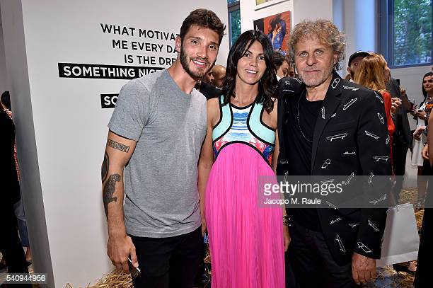 Stefano de Martino Renzo Rosso and Arianna Alessi attend Renzo Rosso And OTB Launch 'Radical Renaissance 555' Book on June 17 2016 in Milan Italy