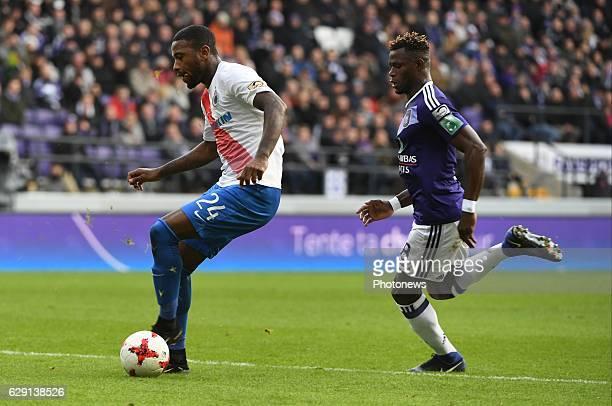 Stefano Denswil defender of Club Brugge and Stephane Badji midfielder of RSC Anderlecht during the Jupiler Pro League match between Club Brugge KV...