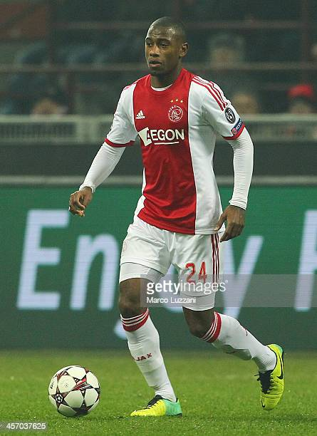 Stefano Denswil of Ajax Amsterdam in action during the UEFA Champions League Group H match between AC Milan and Ajax Amsterdam at Stadio Giuseppe...