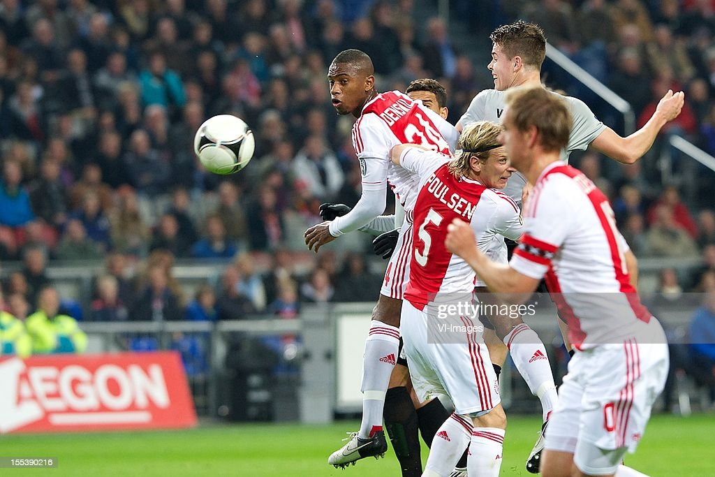 Stefano Denswil of Ajax during the Dutch Eredivisie match between Ajax Amsterdam and Vitesse Arnhem at the Amsterdam Arena on November 3, 2012 in Amsterdam, The Netherlands.
