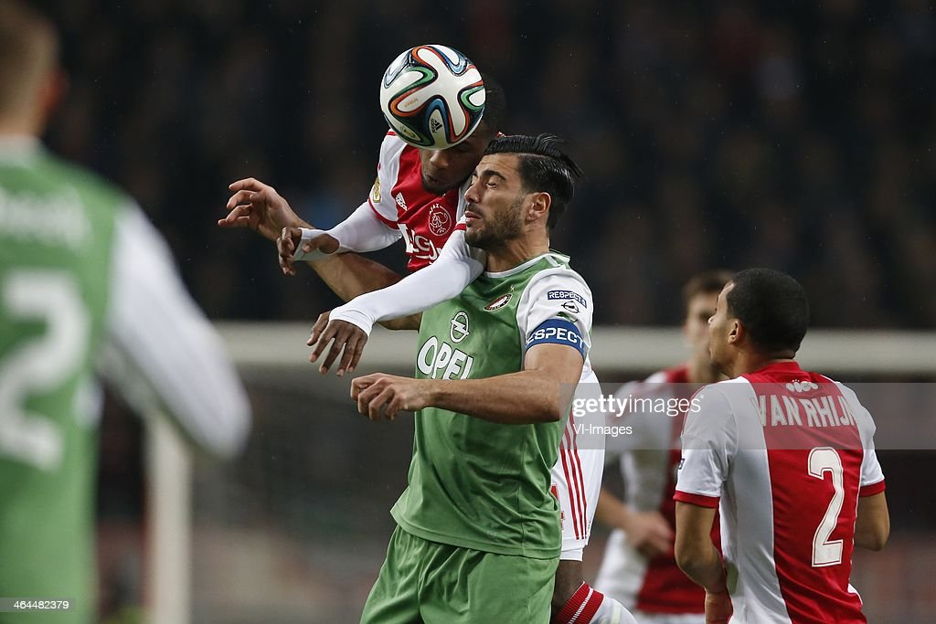 Stefano Denswil of Ajax Graziano Pelle of Feyenoord during the Dutch cup match between Ajax Amsterdam and Feyenoord at Amsterdam Arena on January 22...