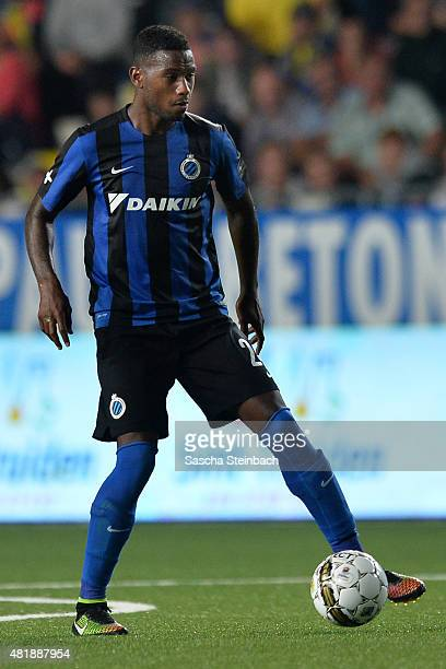 Stefano Denswil of Brugge runs with the ball during the Jupiler league match between SintTruiden VV and Club Brugge at Stayen on July 24 2015 in St...