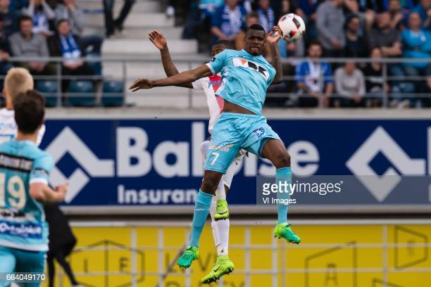 Stefano Denswil of Club Brugge Kalifa Coulibaly of KAA Gentduring the Jupiler Pro League Play Off I match between KAA Gent and Club Brugge on April...