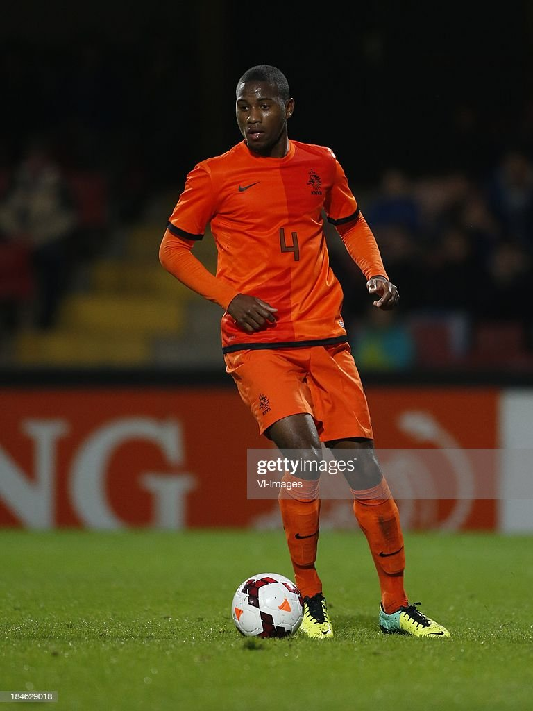 Stefano Denswil of Netherlands U21 during 2015 UEFA European U21 Championships Qualifier match between the Netherlands U21 and Austria U21 at the Adelaarshorst on Oktober 14, 2013 in Deventer, The Netherlands