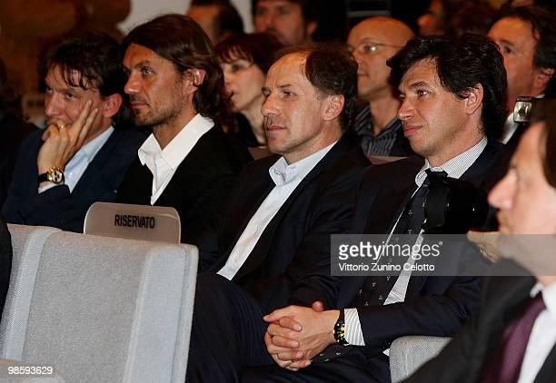 Stefano Eranio Paolo Maldini Franco Baresi Demetrio Albertini attend 'Attaccante Nato' Book Launch held at Sala Buzzati on April 21 2010 in Milan...