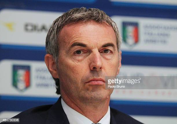 Stefano Farina of the Italian Referee Association attends a press conference during unveiling of the new kits for this season at Coverciano on August...