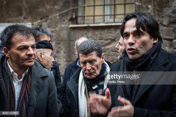 Stefano Fassina and Andrea Mazzillo at the reoccupied Rialto Sant'Ambrogio after the evacuation of 16 February 2017 by the Municipal police of Rome...