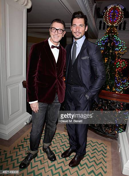 Stefano Gabbana and David Gandy attend Claridge's Christmas Tree By Dolce Gabbana launch party at Claridge's Hotel on November 26 2013 in London...