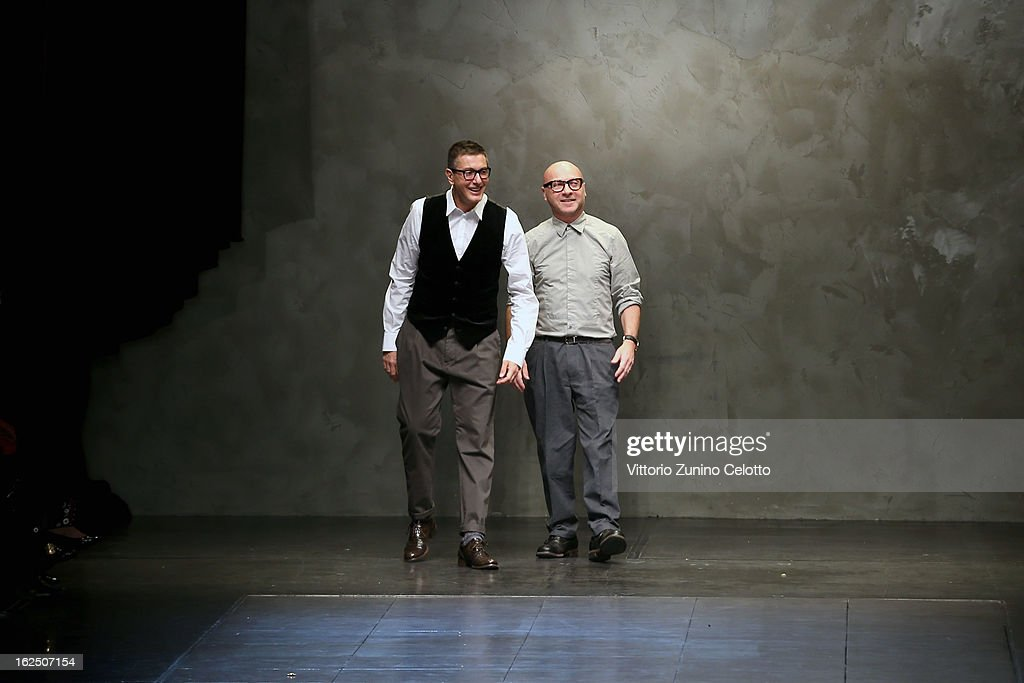 <a gi-track='captionPersonalityLinkClicked' href=/galleries/search?phrase=Stefano+Gabbana+-+Fashion+Designer&family=editorial&specificpeople=4820355 ng-click='$event.stopPropagation()'>Stefano Gabbana</a> and <a gi-track='captionPersonalityLinkClicked' href=/galleries/search?phrase=Domenico+Dolce&family=editorial&specificpeople=534808 ng-click='$event.stopPropagation()'>Domenico Dolce</a> acknowledge the applause of the audience after the runway at the Dolce & Gabbana fashion show as part of Milan Fashion Week Womenswear Fall/Winter 2013/14 on February 24, 2014 in Milan, Italy.