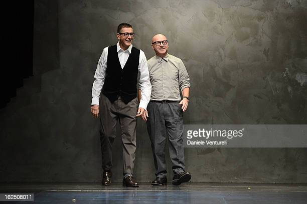 Stefano Gabbana and Domenico Dolce acknowledge the applause of the audience after the runway at the Dolce Gabbana fashion show as part of Milan...