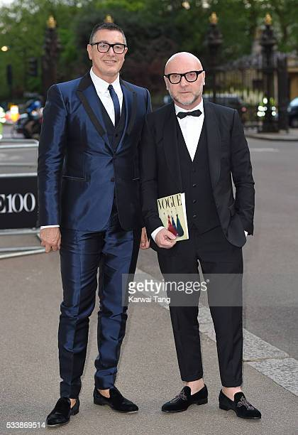 Stefano Gabbana and Domenico Dolce arrive for the Gala to celebrate the Vogue 100 Festival at Kensington Gardens on May 23 2016 in London England