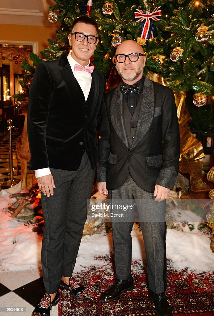<a gi-track='captionPersonalityLinkClicked' href=/galleries/search?phrase=Stefano+Gabbana+-+Fashion+Designer&family=editorial&specificpeople=4820355 ng-click='$event.stopPropagation()'>Stefano Gabbana</a> (L) and <a gi-track='captionPersonalityLinkClicked' href=/galleries/search?phrase=Domenico+Dolce&family=editorial&specificpeople=534808 ng-click='$event.stopPropagation()'>Domenico Dolce</a> attend the Claridge's & Dolce and Gabbana Christmas Tree party at Claridge's Hotel on November 19, 2014 in London, England.
