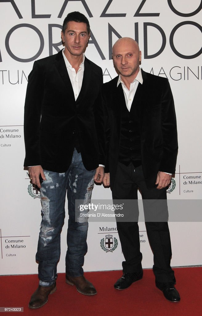 Stefano Gabbana and Domenico Dolce attend the opening of new exhibition space at Palazzo Morimondo dedicated to fashion and costume on March 1, 2010 in Milan, Italy.
