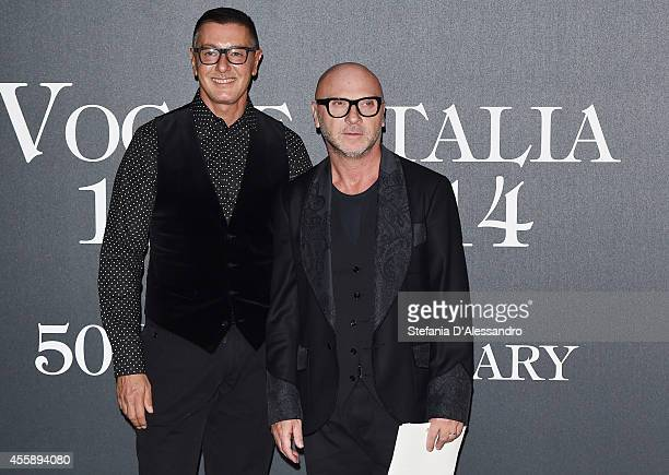 Stefano Gabbana and Domenico Dolce attend Vogue Italia 50th Anniversary Event on September 21 2014 in Milan Italy