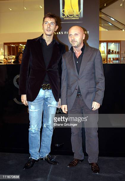 Stefano Gabbana and Domenico Dolce during Dolce Gabbana Launch Their New Fragrance 'Sicily' in New York City at Saks Fifth Avenue in New York City...