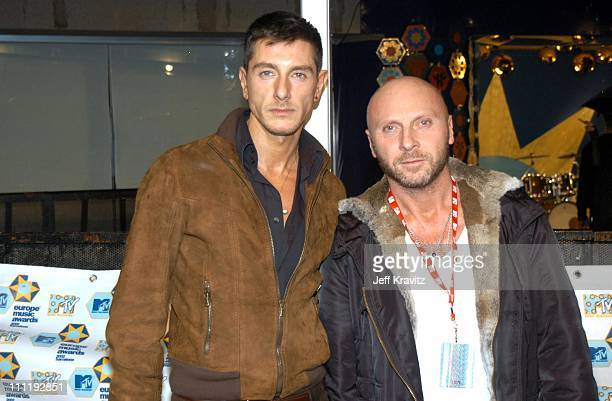 Stefano Gabbana and Domenico Dolce during MTV European Music Awards 2002 at Palau Sant Jordi in Barcelona Spain