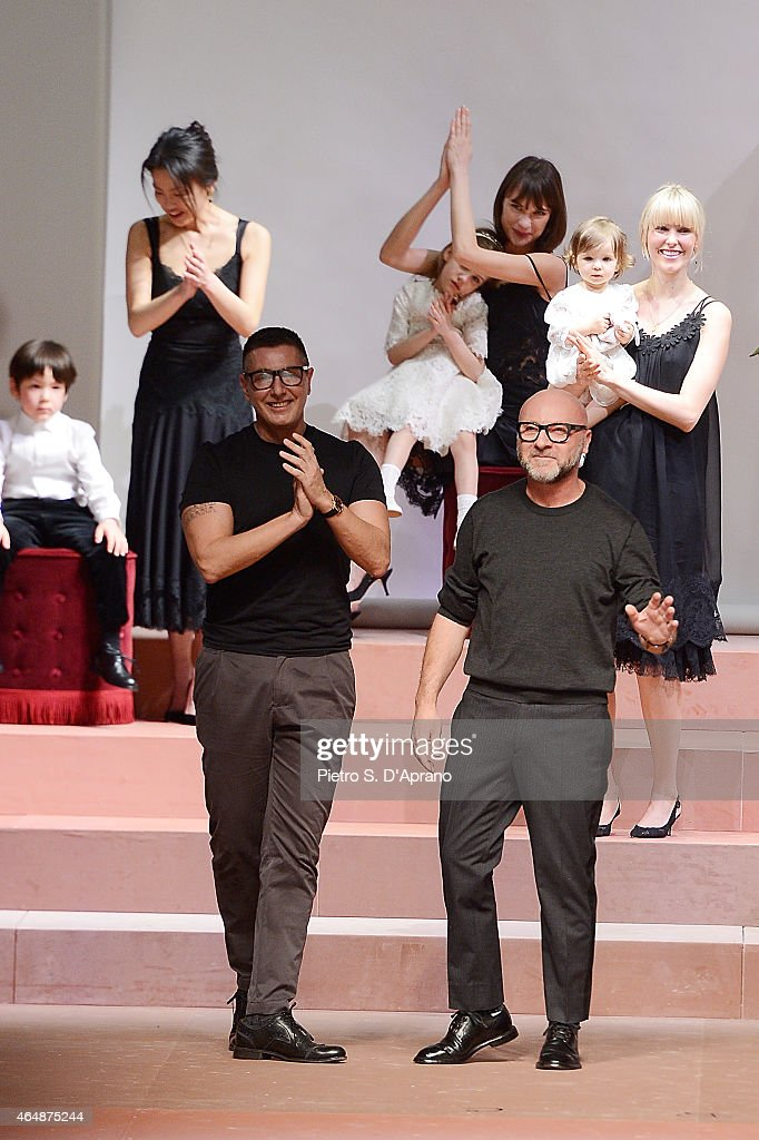 Stefano Gabbana and Domenico Dolce during the runway at the Dolce&Gabbana show during the Milan Fashion Week Autumn/Winter 2015 on March 1, 2015 in Milan, Italy.