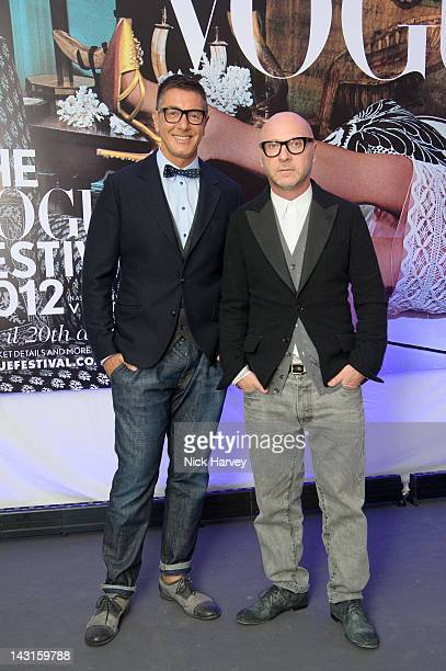 Stefano Gabbana and Domenico Dolce take part in the Vogue Festival at Royal Geographical Society on April 20 2012 in London England