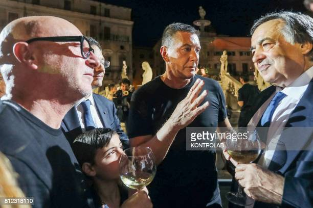 SQUARE PALERMO SICILY ITALY Stefano Gabbana and Domenico Dolce with Leoluca Orlando mayor of city after the show of the parade in Pretoria Square in...