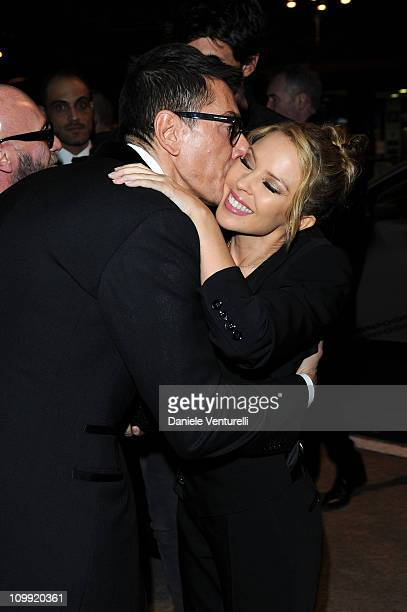 Stefano Gabbana and Kylie Minogue attend the Dinner At Dolce Gabbana Gold Restaurant on March 8 2011 in Milan Italy