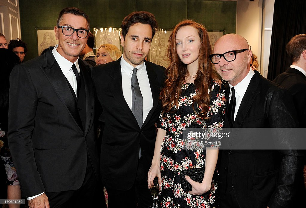 (L to R) <a gi-track='captionPersonalityLinkClicked' href=/galleries/search?phrase=Stefano+Gabbana+-+Fashion+Designer&family=editorial&specificpeople=4820355 ng-click='$event.stopPropagation()'>Stefano Gabbana</a>, Diego Bivero Volpe, <a gi-track='captionPersonalityLinkClicked' href=/galleries/search?phrase=Olivia+Grant+-+Actress+-+Born+1983&family=editorial&specificpeople=604289 ng-click='$event.stopPropagation()'>Olivia Grant</a> and <a gi-track='captionPersonalityLinkClicked' href=/galleries/search?phrase=Domenico+Dolce&family=editorial&specificpeople=534808 ng-click='$event.stopPropagation()'>Domenico Dolce</a> attend the opening of the new Dolce & Gabbana men's store with a preview of the Summer 2014 Tailoring Collection at Dolce & Gabbana on June 15, 2013 in London, England.
