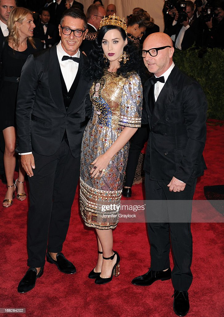 Stefano Gabbana, Katy Perry and Domenico Dolce attend the Costume Institute Gala for the 'PUNK: Chaos to Couture' exhibition at the Metropolitan Museum of Art on May 6, 2013 in New York City.