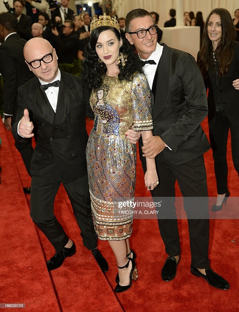 Stefano Gabbana, Katy Perry and Domenico Dolce attends the Costume Institute Benefit at The Metropolitan Museum of Art May 6, 2013, celebrating the opening of Punk: Chaos to Couture.