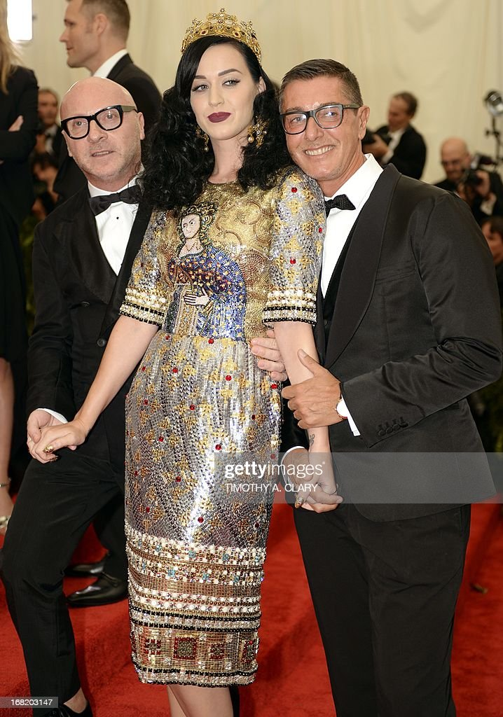Stefano Gabbana, Katy Perry and Domenico Dolce attends the Costume Institute Benefit at The Metropolitan Museum of Art May 6, 2013, celebrating the opening of Punk: Chaos to Couture. AFP PHOTO / TIMOTHY A. CLARY