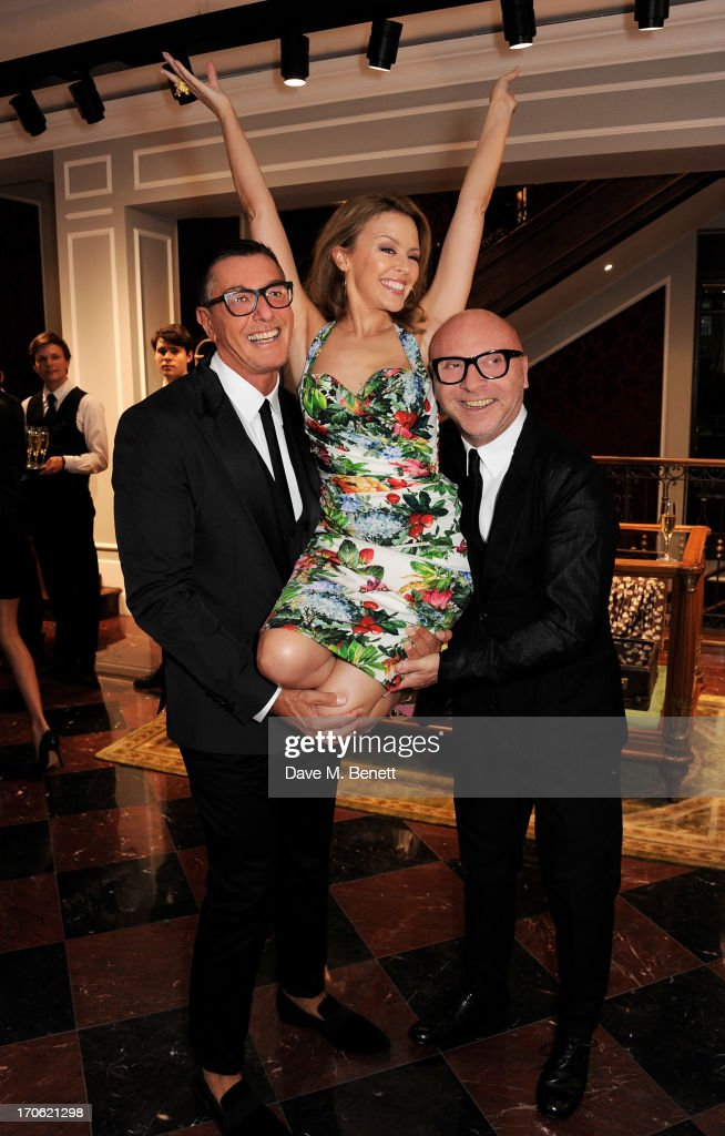 (L to R) <a gi-track='captionPersonalityLinkClicked' href=/galleries/search?phrase=Stefano+Gabbana+-+Fashion+Designer&family=editorial&specificpeople=4820355 ng-click='$event.stopPropagation()'>Stefano Gabbana</a>, <a gi-track='captionPersonalityLinkClicked' href=/galleries/search?phrase=Kylie+Minogue&family=editorial&specificpeople=201671 ng-click='$event.stopPropagation()'>Kylie Minogue</a> and <a gi-track='captionPersonalityLinkClicked' href=/galleries/search?phrase=Domenico+Dolce&family=editorial&specificpeople=534808 ng-click='$event.stopPropagation()'>Domenico Dolce</a> attend the opening of the new Dolce & Gabbana men's store with a preview of the Summer 2014 Tailoring Collection at Dolce & Gabbana on June 15, 2013 in London, England.