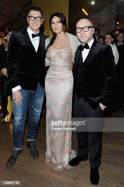 Stefano Gabbana Monica Bellucci and Domenico Dolce attend Dolce Gabbana Cocktail Party at the Gold Restaurant as part of Milan Womenswear Fashion...