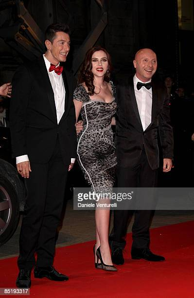 Stefano Gabbana Scarlett Johansson and Domenico Dolce attend the Extreme Beauty In Vogue party at the Palazzina della Ragione during Autumn/Winter...