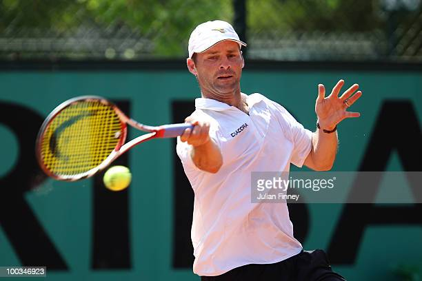 Stefano Galvani of Italy plays a forehand during the mens singles first round match between Albert Montanes of Spain and Stefano Galvani of Italy...