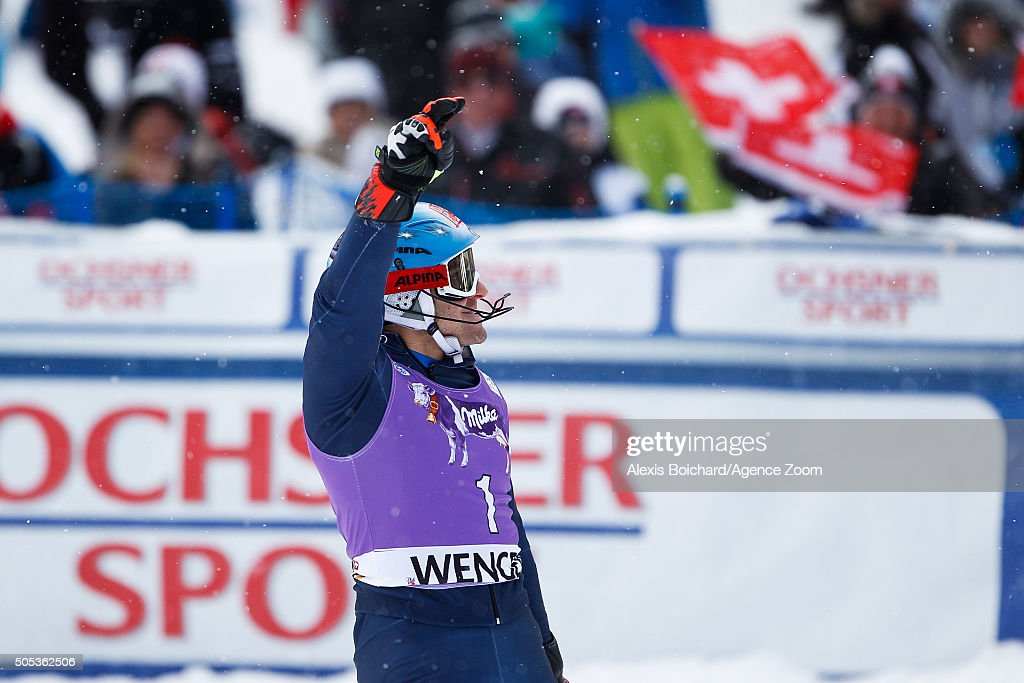 <a gi-track='captionPersonalityLinkClicked' href=/galleries/search?phrase=Stefano+Gross&family=editorial&specificpeople=5678979 ng-click='$event.stopPropagation()'>Stefano Gross</a> of Italy celebrates during the Audi FIS Alpine Ski World Cup Men's Slalom on January 17, 2016 in Wengen, Switzerland.
