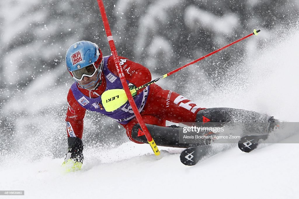 <a gi-track='captionPersonalityLinkClicked' href=/galleries/search?phrase=Stefano+Gross&family=editorial&specificpeople=5678979 ng-click='$event.stopPropagation()'>Stefano Gross</a> of Italy competes during the Audi FIS Alpine Ski World Cup Men's Slalom on January 17, 2015 in Wengen, Switzerland.