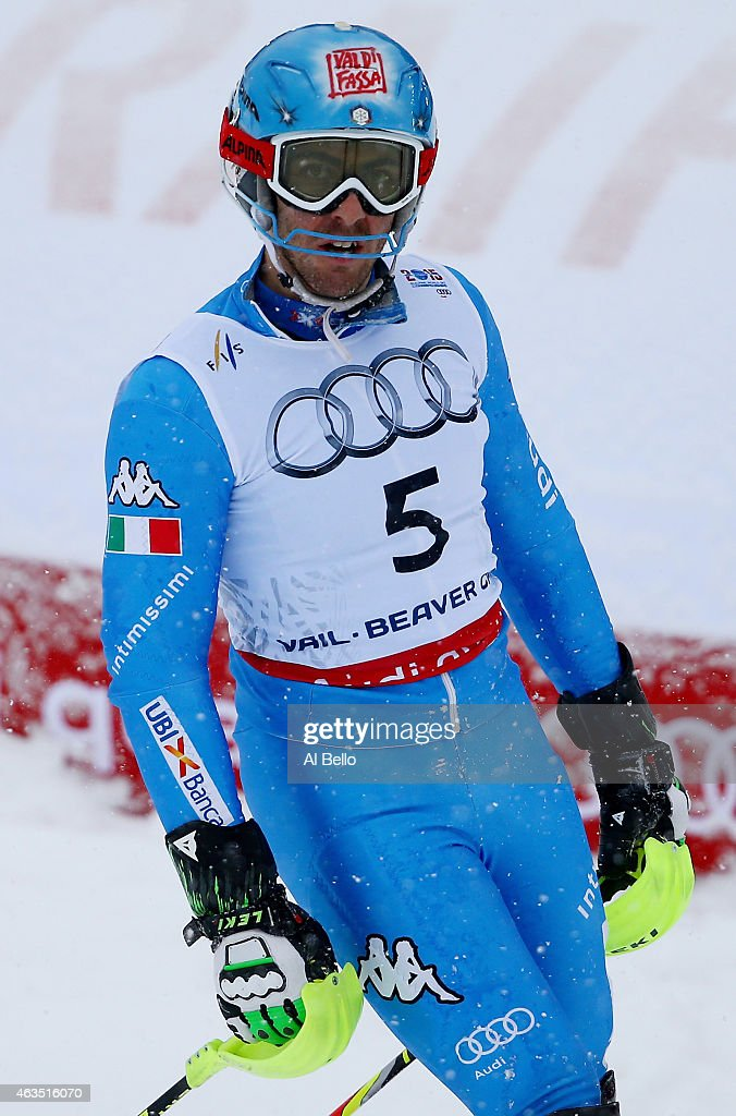 <a gi-track='captionPersonalityLinkClicked' href=/galleries/search?phrase=Stefano+Gross&family=editorial&specificpeople=5678979 ng-click='$event.stopPropagation()'>Stefano Gross</a> of Italy reacts during the Men's Slalom on the Birds of Prey racecourse on Day 14 of the 2015 FIS Alpine World Ski Championships on February 15, 2015 in Beaver Creek, Colorado.