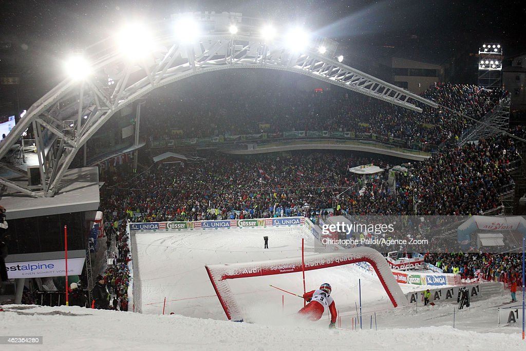 Stefano Gross of Italy takes 2nd place during the Audi FIS Alpine Ski World Cup Men's Slalom on January 27 2015 in Schladming Austria