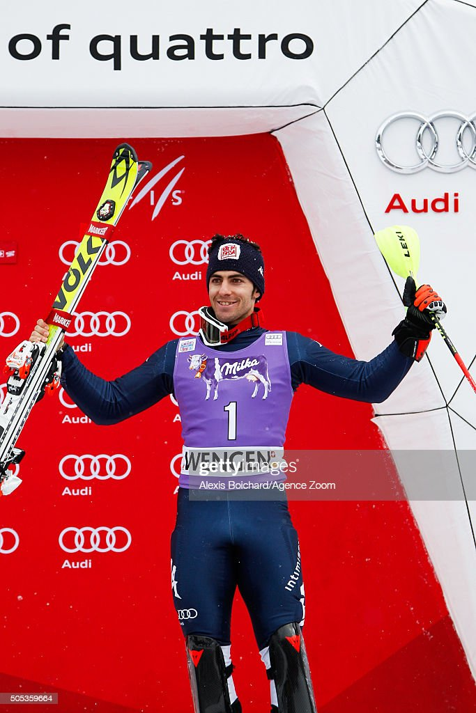 <a gi-track='captionPersonalityLinkClicked' href=/galleries/search?phrase=Stefano+Gross&family=editorial&specificpeople=5678979 ng-click='$event.stopPropagation()'>Stefano Gross</a> of Italy takes 3rd place during the Audi FIS Alpine Ski World Cup Men's Slalom on January 17, 2016 in Wengen, Switzerland.