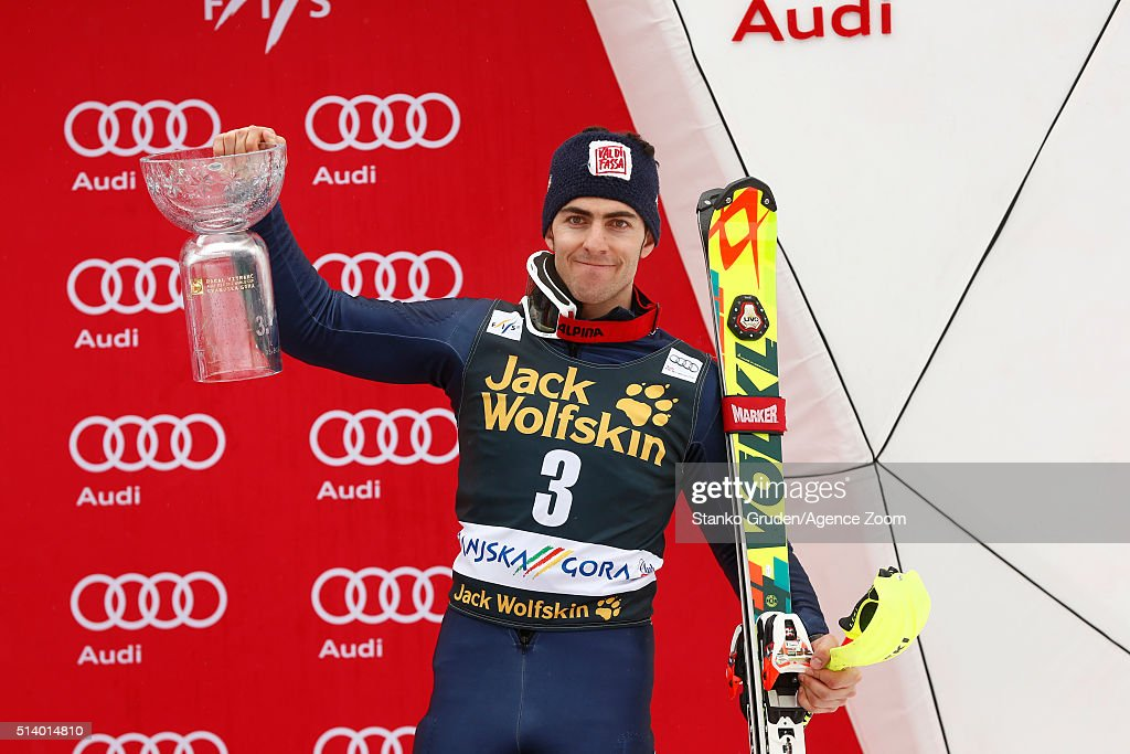 <a gi-track='captionPersonalityLinkClicked' href=/galleries/search?phrase=Stefano+Gross&family=editorial&specificpeople=5678979 ng-click='$event.stopPropagation()'>Stefano Gross</a> of Italy takes 3rd place during the Audi FIS Alpine Ski World Cup Men's Slalom on March 06, 2016 in Kranjska Gora, Slovenia.